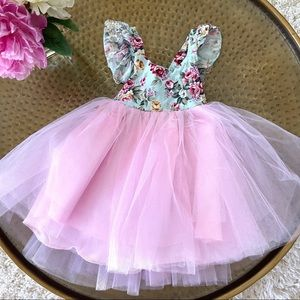 Girls Floral Sequin Apron Tulle Party Dress 2T